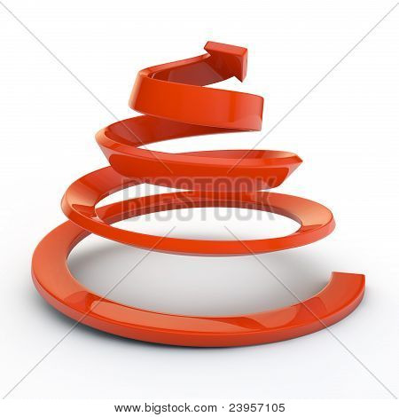 Red spiral and arrow isolated