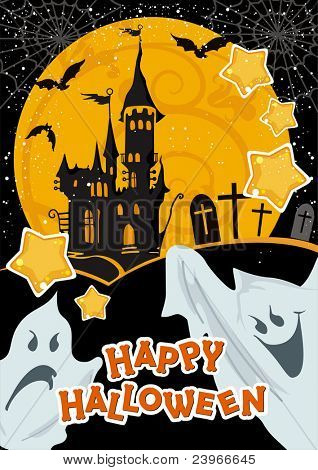 Halloween terrible Vector illustration with a ghost in front of a haunted house. Abstract Classical autumn card with castle.