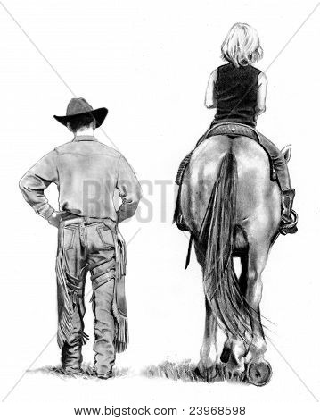 Drawing of Cowboy Walking With Girl Riding Horse