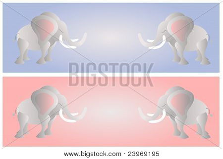 Elephants on the pink and blue background