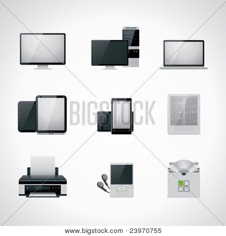 Vector black and white computer icon set