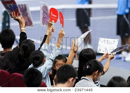 BUKIT JALIL, MALAYSIA- OCT 01: Fans and supporters of Japan's Kei Nishikori show their support in this semi-final match of the Malaysian Open  on October 01, 2011 in Putra Stadium, Bukit Jalil, Malaysia.