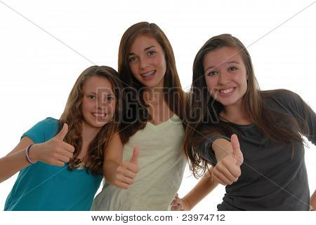 All Thumbs Up Three Teenager Girls Happy Together