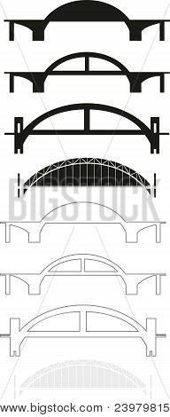 Set of bridge silhouettes and contours