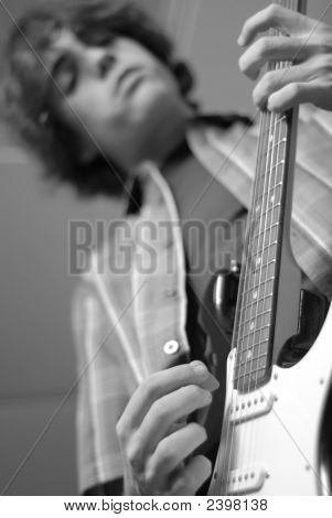 Age 14 Playing Guitar Bw