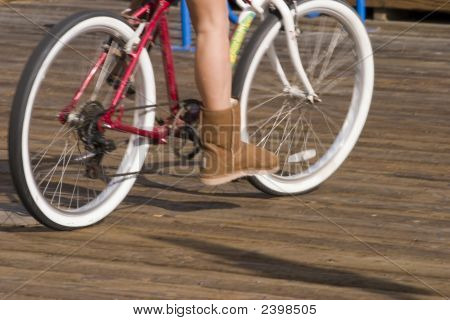 Girl And Her Beach Bike