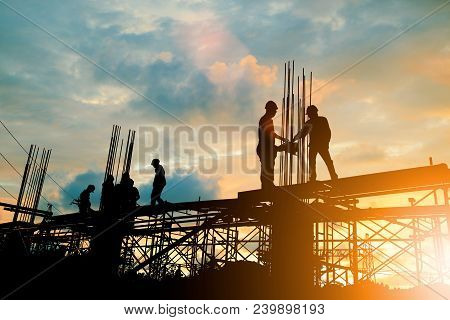 Silhouette Of Engineer And Construction