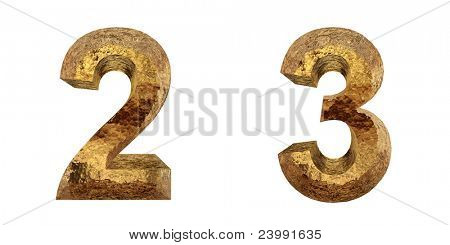 High resolution conceptual golden font isolated on white