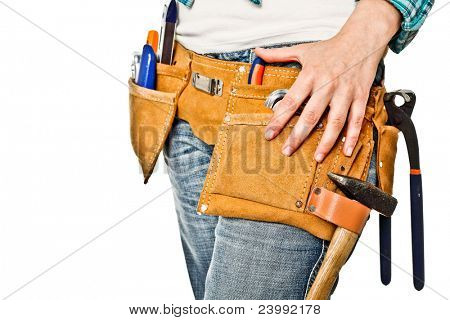 closeup image on worker tool belt