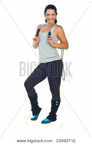 Happy Woman Holding Skipping Rope