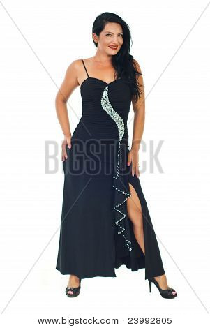 Elegant Glamour Model Woman In Black Dress