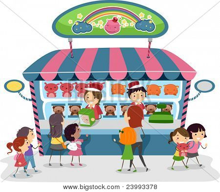 Illustration of Kids Buying Souvenirs from a Toy Store