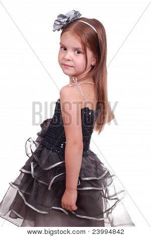 pretty little girl in an evening dress