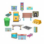 City Infrastructure Icons Set. Cartoon Illustration Of 16 City Infrastructure Vector Icons For Web poster