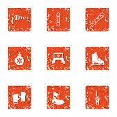 Cold Climate Icons Set. Grunge Set Of 9 Cold Climate Vector Icons For Web Isolated On White Backgrou poster