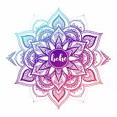 Round Gradient Mandala On White Isolated Background. Vector Boho Mandala In Green And Pink Colors. M poster