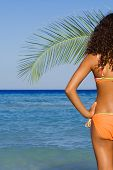 pic of summer beach  - peaceful bikini woman on summer beach vacation - JPG