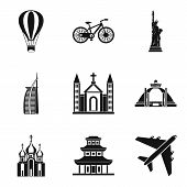 Movement Around The World Icons Set. Simple Set Of 9 Movement Around The World Vector Icons For Web  poster