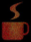 Pixel Hot Coffee Cup Icon. Bright Pictogram In Hot Color Shades On A Black Background. Vector Halfto poster