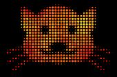 Pixel Kitty Icon. Bright Pictogram In Hot Color Tints On A Black Background. Vector Halftone Pattern poster