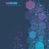 Modern Futuristic Background Of The Scientific Hexagonal Pattern. Virtual Abstract Background With P poster