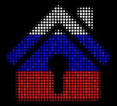 Halftone Home Keyhole Icon Colored In Russian State Flag Colors On A Dark Background. Vector Concept poster