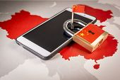 Padlock, China Flag On A Smartphone And China Map, Symbolizing The Great Firewall Of China Concept O poster