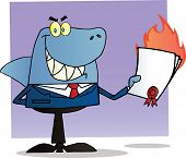 image of loan-shark  - Shark Businessman Holding A Flaming Bad Contract In His Hand - JPG