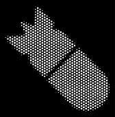 Постер, плакат: Pixel White Aviation Bomb Icon On A Black Background Vector Halftone Illustration Of Aviation Bomb