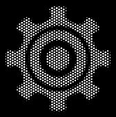 Dotted White Cogwheel Icon On A Black Background. Vector Halftone Mosaic Of Cogwheel Symbol Designed poster