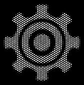 Dotted White Cogwheel Icon On A Black Background. Vector Halftone Composition Of Cogwheel Icon Organ poster