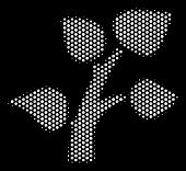 Dot White Flora Plant Icon On A Black Background. Vector Halftone Composition Of Flora Plant Pictogr poster