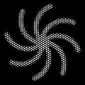Pixel White Spiral Galaxy Icon On A Black Background. Vector Halftone Pattern Of Spiral Galaxy Symbo poster