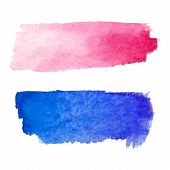 Set Of Abstract Stains. Red And Blue Colors. Bright Creative Horizontal Backdrop. Watercolor Texture poster