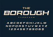 The Borough Trendy Retro Display Font Design, Alphabet, Typeface, Letters And Numbers, Typography. poster