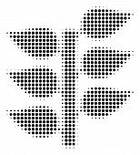 Pixel Black Flora Plant Icon. Vector Halftone Pattern Of Flora Plant Icon Composed With Round Elemen poster