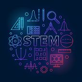 Stem Round Creative Colored Illustration In Outline Style. Vector Science, Technology, Engineering,  poster