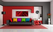 stock photo of niche  - Red white and black modern living room with black couch  - JPG