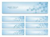 Big Set Of Science And Technology Banners. Molecular And Chemical Structure poster