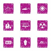 Intensity Icons Set. Grunge Set Of 9 Intensity Vector Icons For Web Isolated On White Background poster