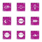 Night Journey Icons Set. Grunge Set Of 9 Night Journey Vector Icons For Web Isolated On White Backgr poster