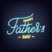 Fathers Day. Neon Glowing Lettering Signboard Design For Fathers Day poster