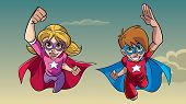 Illustration Of Happy Super Boy And Super Girl Flying High In The Sky Side By Side. poster
