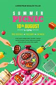 Summer Barbecue Picnic, Vector Poster, Banner Layout. Top View Bbq Grill With Steak, Fish And Human  poster