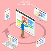 Remarketing Flat Isometric Vector Concept. A Man Pushing An Ad On The Web Page And Gets The Same Adv poster