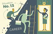 Business Infographics, Business Situations. Career Ladder, Service Elevator, Workers Strive Upward,  poster