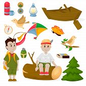 Camping Children Summer Camp Park Vector Illustration Fun Childhood Campfire Nature Outdoor Leisure. poster