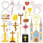 Religion Vector Catholic Church Or Cathedral And Religious Sings Of Christianity Illustration Set Of poster