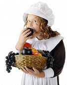 picture of snitch  - A pretty young Pilgrim snitching a plum from the basket of fruit she carries for the first Thanksgiving feast - JPG