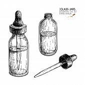 Hand Drawn Set Of Essential Oils. Vector Vintage Mock Up. Medicinal Essence In Glass Dropper Bottle. poster